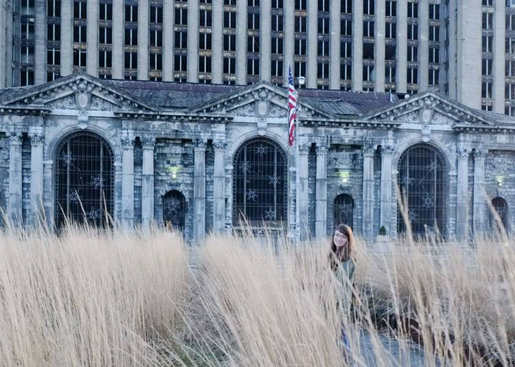 Bernice Radle at the Michigan Central Station
